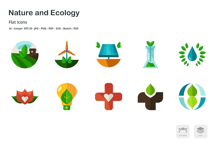 Thumbnail for Nature and Ecology Flat Colored Icons
