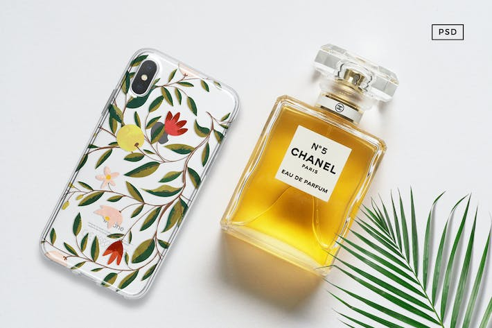 Thumbnail for iPhone X Mock Up With Chanel Bottle