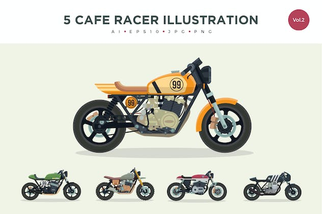 5 Vintage Cafe Racer Vector Illustration Set 2