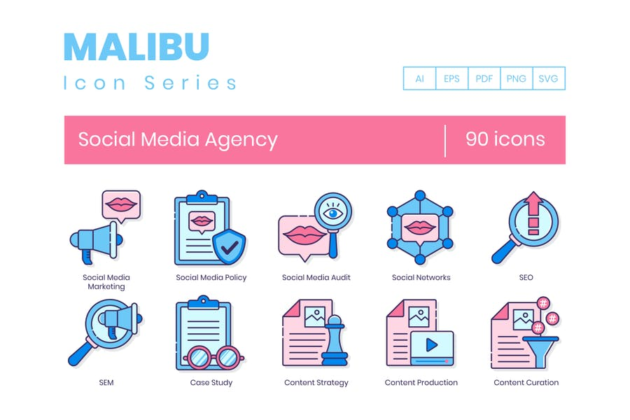 90 Line Icons der Agentur für soziale Medien