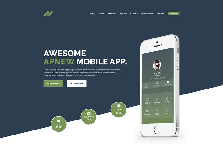 Thumbnail for ApNew - App Landing PSD Template