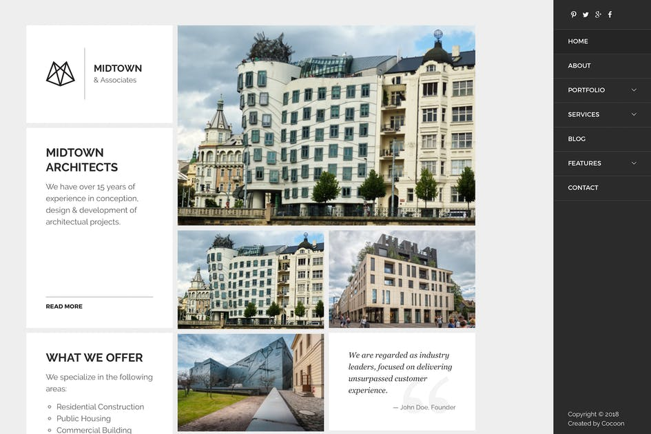Download Midtown Architects - Drupal 8.5 Theme by createdbycocoon