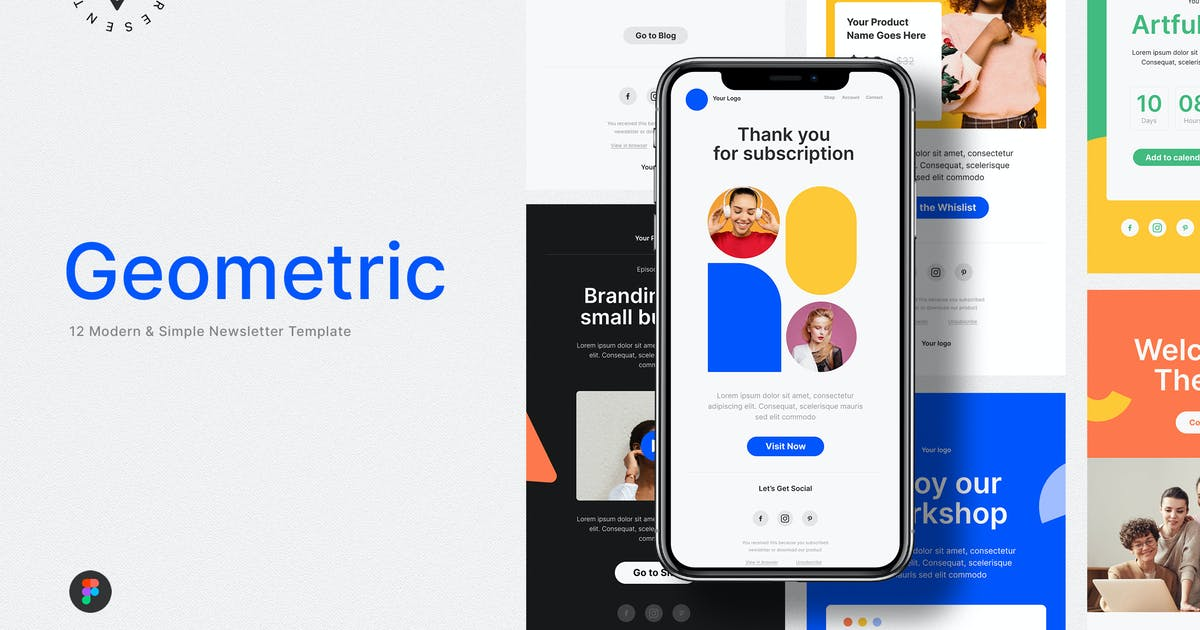 Download Modern Geometric Email Newsletter by Guuver