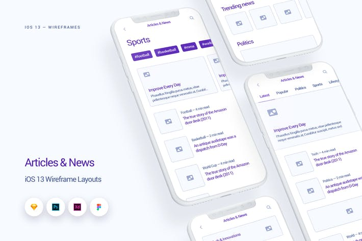 Thumbnail for News & Articles - iOS 13 Wireframe Kit