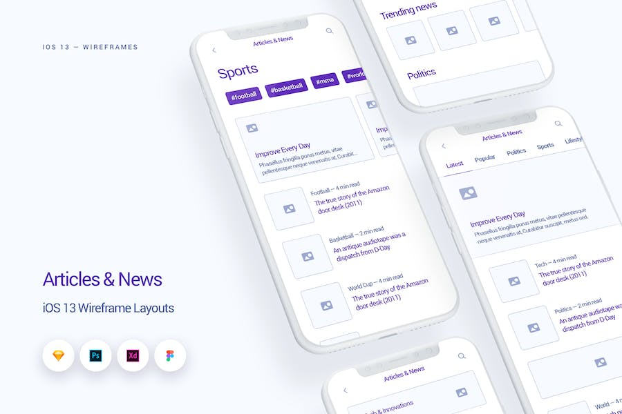 News & Articles - iOS 13 Wireframe Kit