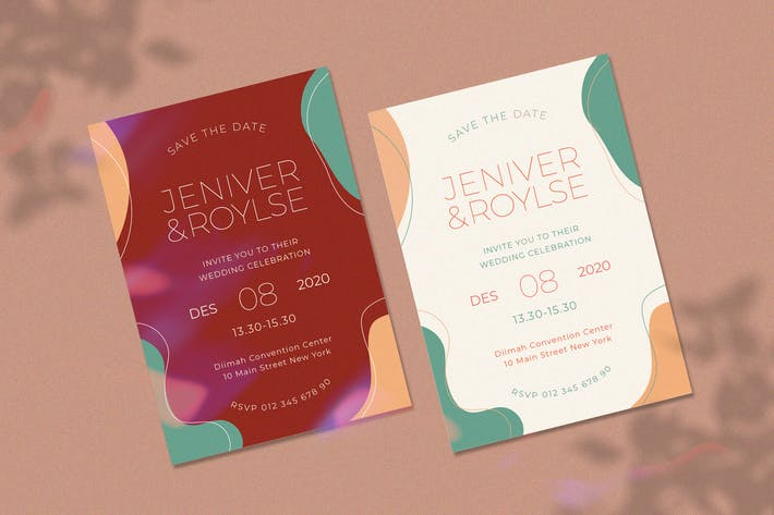 Thumbnail for Simple abstract wedding invitation