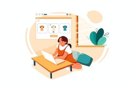 Mitarbeiter hochladen Produkte für den Online-Verkauf