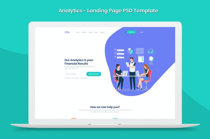Thumbnail for Analytics - Landing Page PSD Template