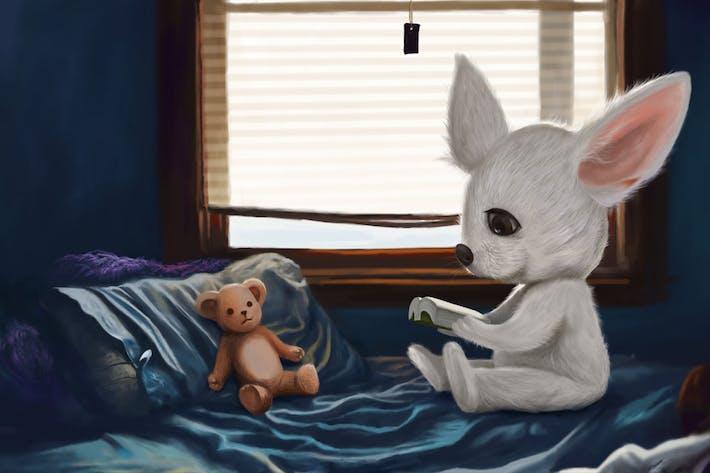 Thumbnail for Fennec Fox Handgezeichnete Digitalmalerei