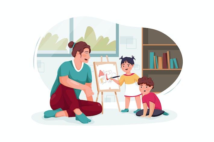 Thumbnail for Няня с милыми маленькими детьми рисование дома