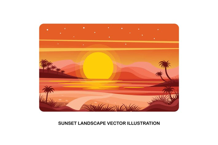 Cover Image For Sunset Landscape Vector Illustration