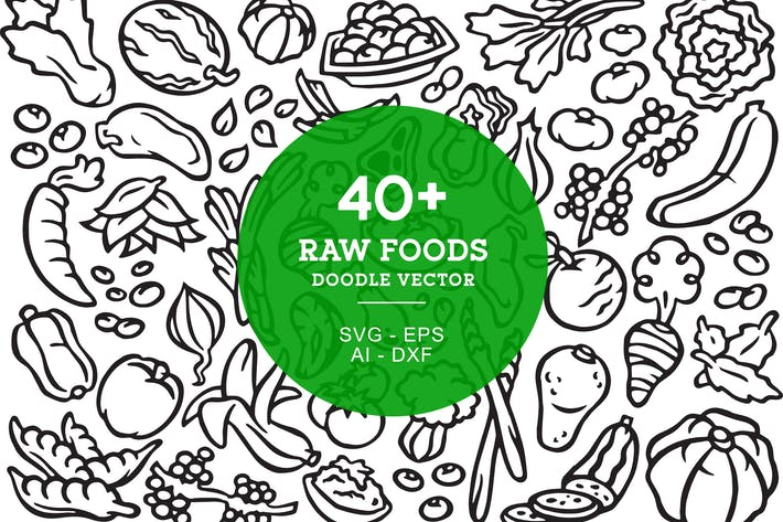 Thumbnail for Raw Food Doodle Art Illustration