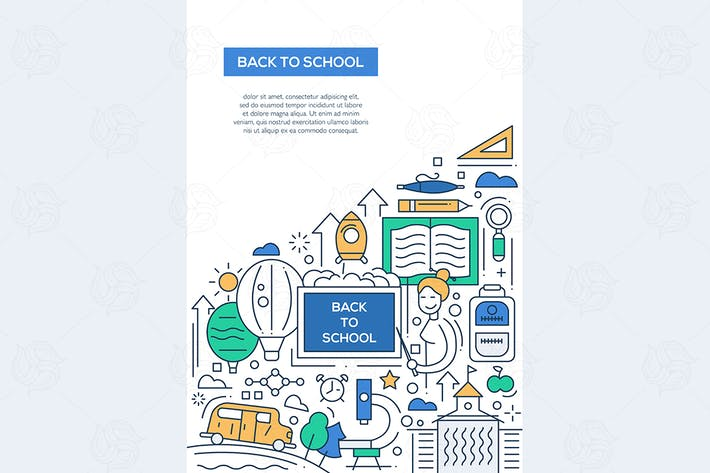 Thumbnail for Back to School - line design brochure poster