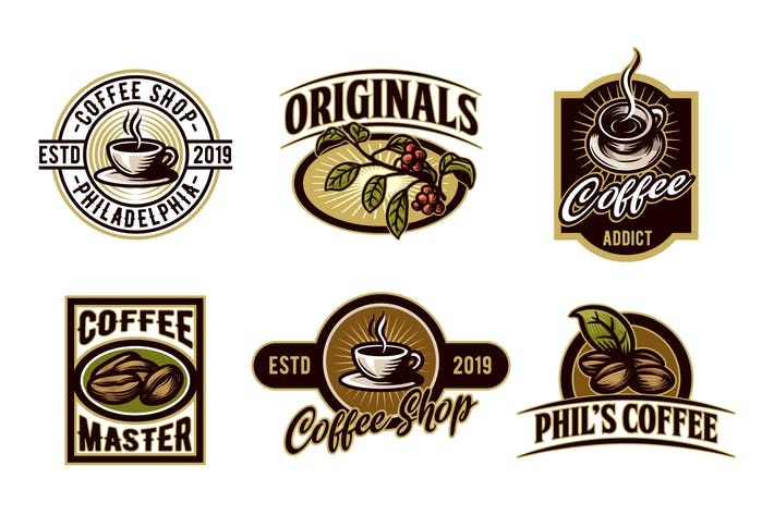 Thumbnail for Vintage Set of Coffee Emblem and Badge