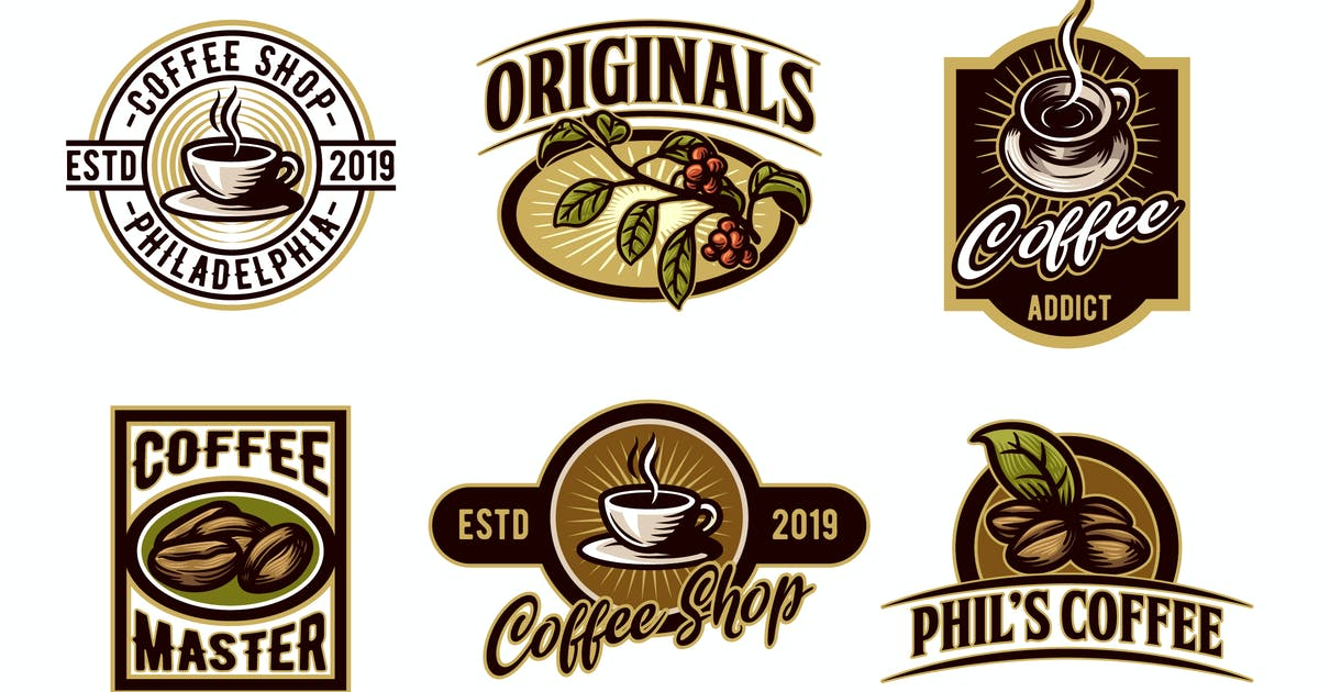 Download Vintage Set of Coffee Emblem and Badge by Suhandi