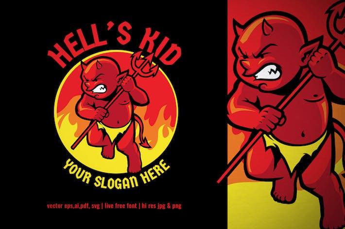 Thumbnail for Hell's evil kid mascot logo