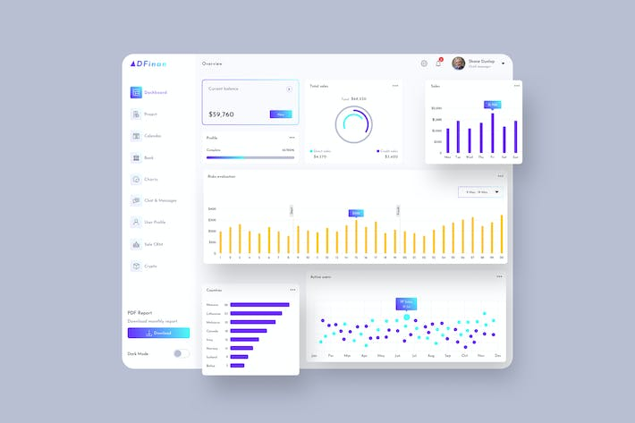 Thumbnail for ADFinan Finance Dashboard Ui Light - P