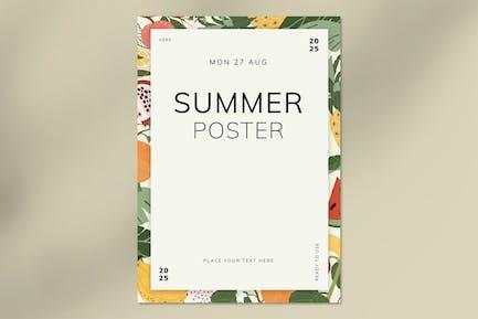 Mix tropical fruits summer poster vector