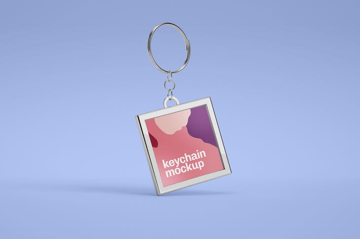 Thumbnail for Square Metallic Keychain Mockup