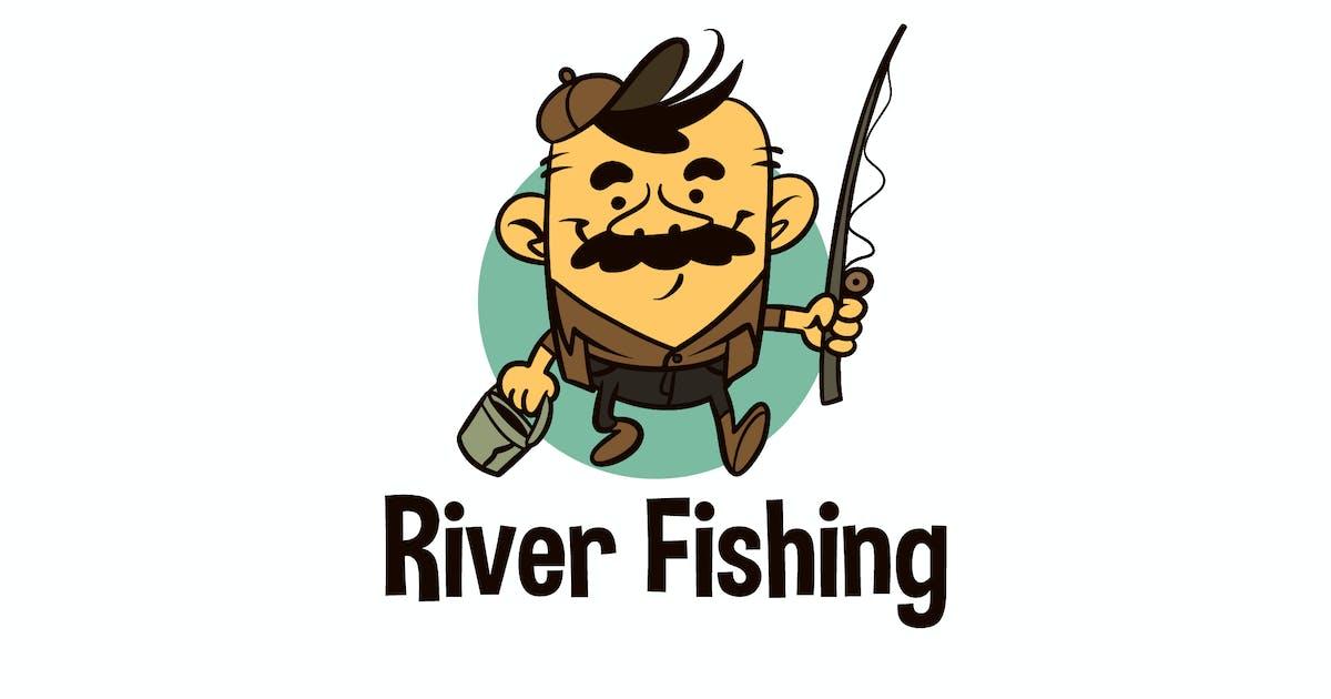 Download Cartoon Funny River Fishing Mascot Logo by Suhandi