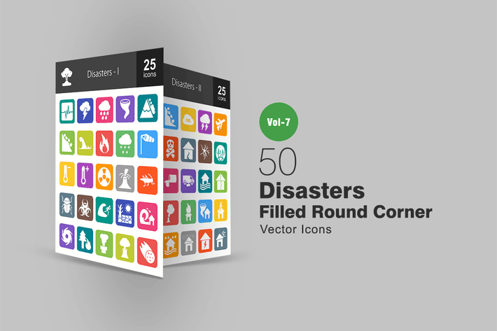 Thumbnail for 50 Disasters Filled Round Corner Icons
