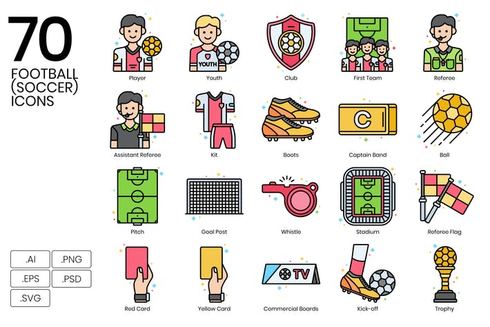 Thumbnail for 70 Football (Soccer) Icons | Vivid Series