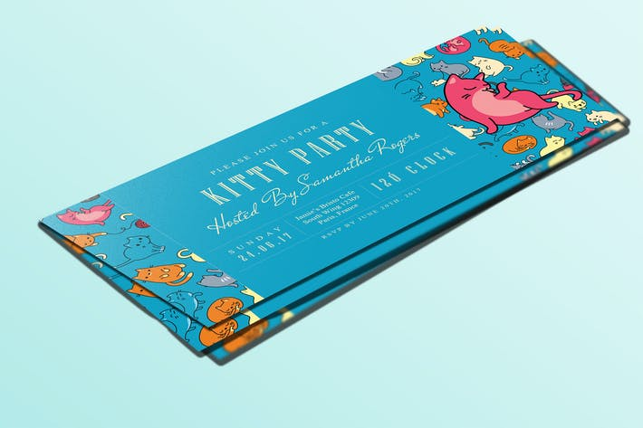 Thumbnail for Ticket Kitty Party Invitation Card