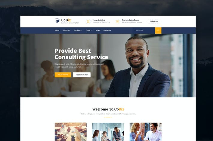 Thumbnail for CoBiz - Business & Consulting PSD Template