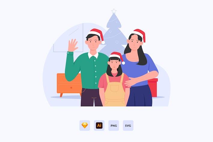 Thumbnail for Family Celebrating Christmas Vector Illustration