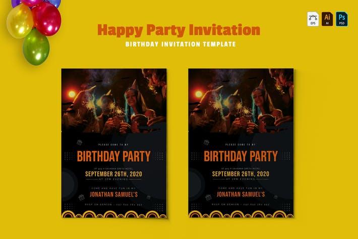 Thumbnail for Happy Party | Birthday Invitation