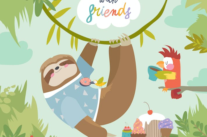 Thumbnail for Vector card with cute sloth and little parrot. Tea