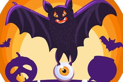 Halloween Creepy Bat Illustration