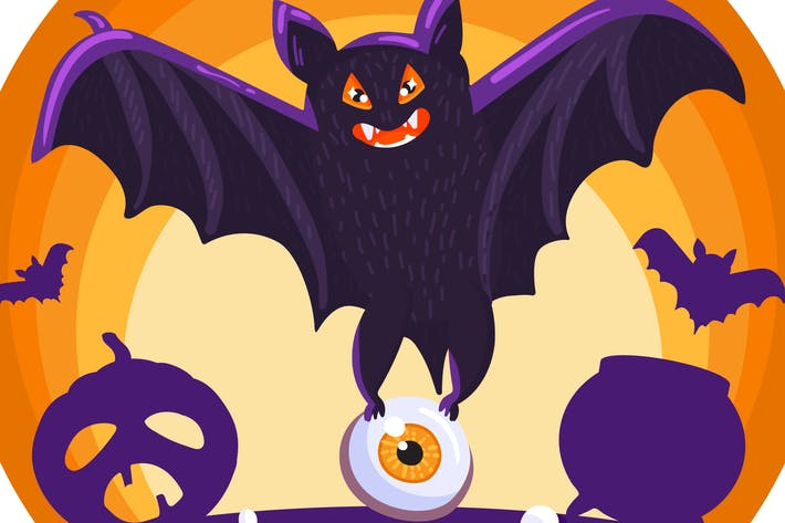 Thumbnail for Halloween Creepy Bat Illustration
