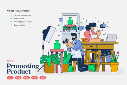 E-Commerce Vektor Illustration: Produkt fördern