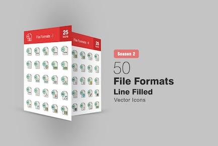 50 File Formats Filled Line Icons Season II
