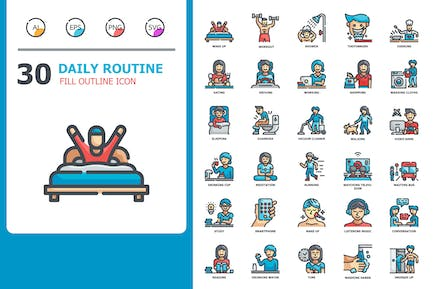 Daily routine Fill Outline Icons