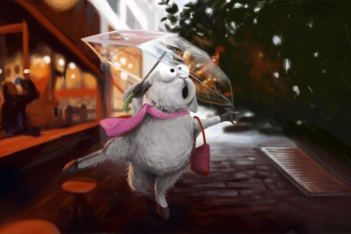 Thumbnail for Schaf im Regen Handgezeichnet Digitalmalerei