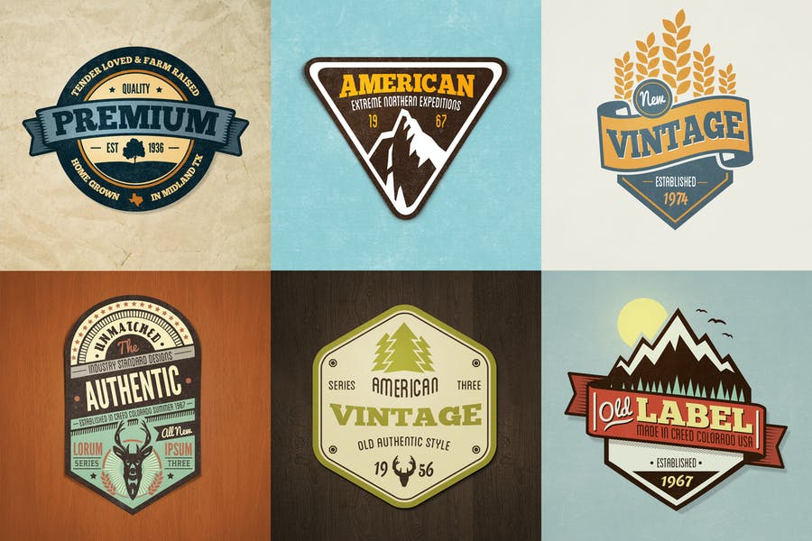 Vintage Style Badges and Logos - Colored