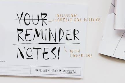 Reminder Notes - Handwritten Font