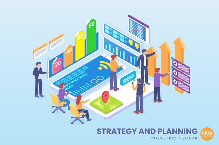 Thumbnail for Isometric Strategy & Planning Vector Concept