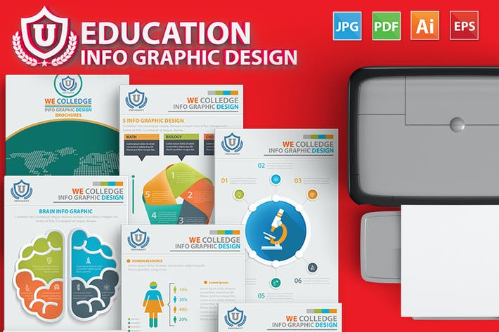 Thumbnail for Education Infographic 17 Pages Design