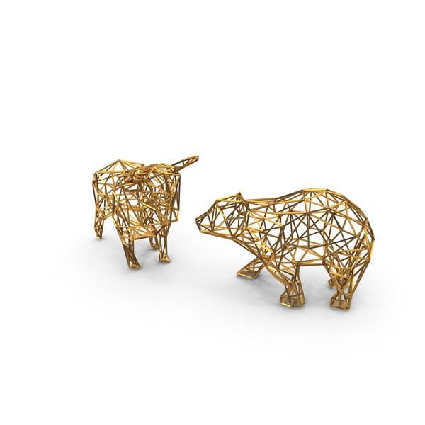 Bull & Bear Gold Wireframe