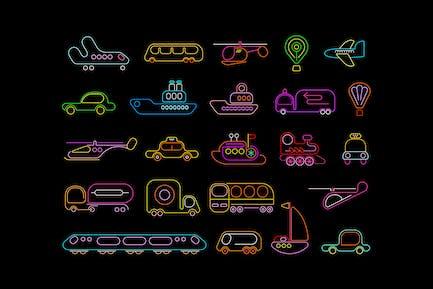 Transport neon vector icons set