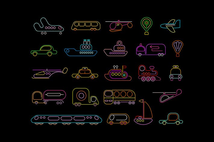 Thumbnail for Transport neon vector icons set