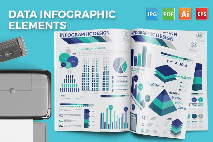 Cover Image For Infographic flat elements Design