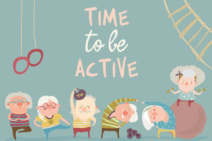 Thumbnail for Cartoon elderly people doing exercises. Vector