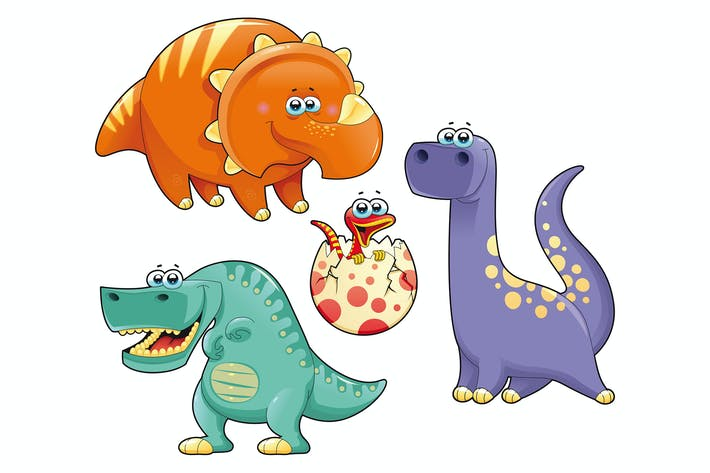 Cover Image For Group of funny dinosaurs