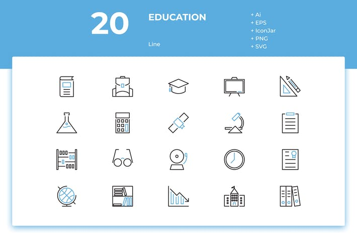 Thumbnail for 20 Education Icons (Line)