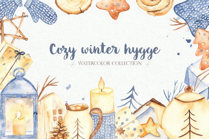 Watercolor Cozy winter Hygge