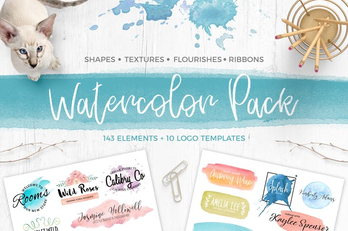 Watercolor Pack. Textures and logos